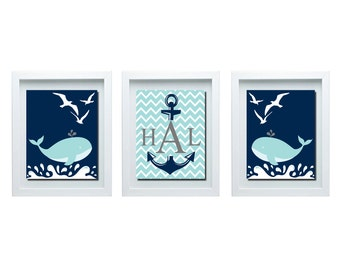 Whale Decor Custom Initial Print Nautical Decor Whale Bathroom Decor Whale Nursery