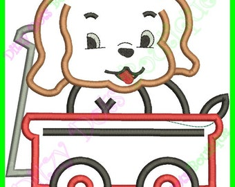 Cute Cuddly Puppy in a Wagon Machine Embroidery Design (1)