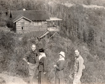 cabin in the woods ~ Vintage snapshot Photo