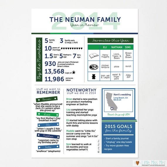 "Custom ""Year in Review"" Infographic Family holiday card -- 5x7 or 8.5x11 (design only)"