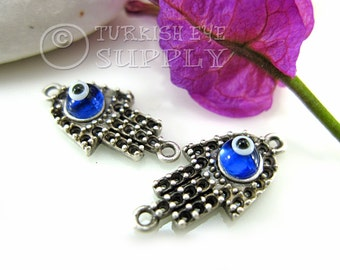 5 Pc Mini Silver Hamsa Connector with Glass Evil Eye, Turkish Jewelry
