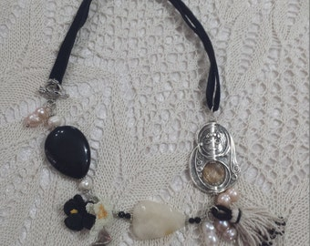 Russian Doll Onyx Necklace with Peanut Peanut Pearls and Swarovski Crystals