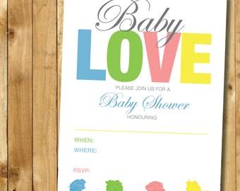 Invitation Instant Printable - DIY Instant Download Printable Love Baby Shower Invite
