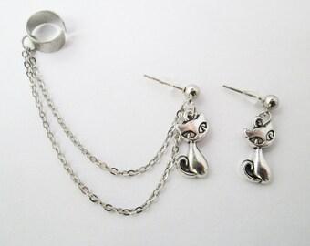 Cat chain ear cuff wrap, cat ear cuff earring, cat jewelry, cat stud ear cuff wrap earring