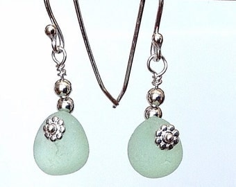 Green Sea Glass Earrings, English Seafoam Beach Glass Jewelry Handmade, Handcrafted Sterling Silver Metalwork