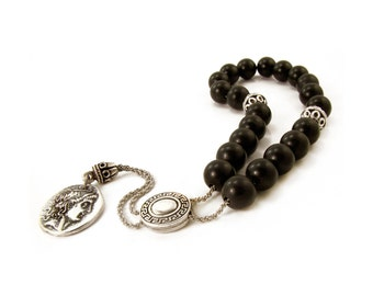 Black Obsidian Komboloi, Greek Worry Beads, Alexander The Great Coin, Metal Shield Bead, Hellenic Chain Komboloi