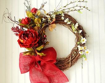 spring wreath, spring decor, summer wreath, wreath for summer, door wreath, everyday wreath, front door wreath, wreath
