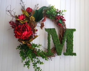 Red peony and moss monogram wreath. Wreath for christmas, christmas door wreath. fall wreath,fall door wreath. personalized wreath.