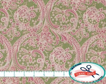 GREEN & PINK DAMASK Fabric by the Yard, Fat Quarter Shabby Chic Fabric Pink Fabric Apparel Fabric Quilting Fabric 100% Cotton Fabric t1-5