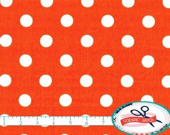 BRIGHT ORANGE Fabric by the Yard, Fat Quarter ORANGE Polka Dot Fabric Orange Dot Fabric Quilt Fabric 100% Cotton Fabric Apparel Fabric w8-34
