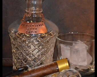 Personalized Copper Liquor Bottle/Decanter Tag Distinctive, Classy: Great Guy's Gift!