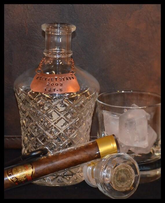Personalized copper liquor bottle decanter tag distinctive classy