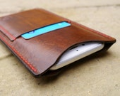 Leather iPhone 6 Case with Card Pocket - Leather iPhone 6 Wallet / Sleeve - Handmade in England