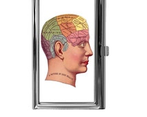 Business Card Holder, Business Card Case, Mini Wallet, Vintage Phrenology Head Image Design, Science