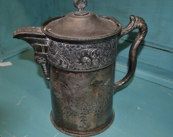 SALE! Antique Mermod Jaccard & Co. Quadruple Silver Plate Pitcher, St. Louis MO, circa mid 1800-early 1900
