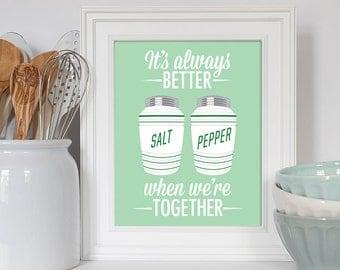 Salt and Pepper Shakers, Retro Kitchen Art, Kitchen Decor, Anniversary Gift, Art for Kitchen, Wedding Gift, We're better together, Retro Art