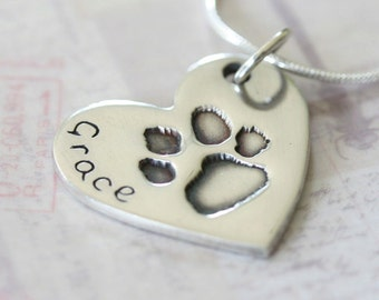 Pawprint Necklace, Pawprint Charm, Silver Pawprint, Pawprint Jewellery, Footprint Necklace, Personalised Jewellery, Custom Dog Necklace