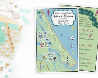 Custom Wedding MAP- Any Location Available- Ponce Inlet, Florida Map Pictured- Directions or Itinerary on Back, great for out of town bags