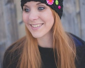 Seed Stitch Headband w/ Buttons - Black