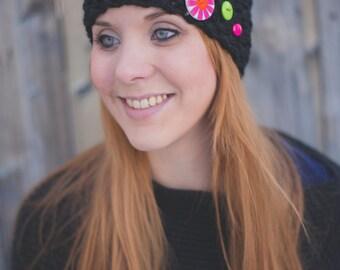 Seed Stitch Headband w/ Buttons - Black