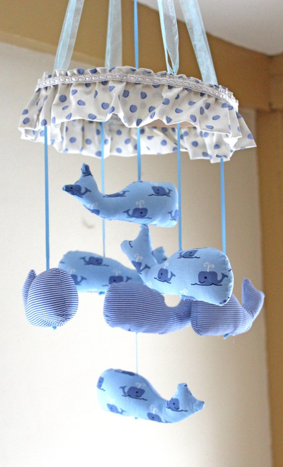 Items similar to baby mobile whale fabric whales boy for Nautical nursery fabric