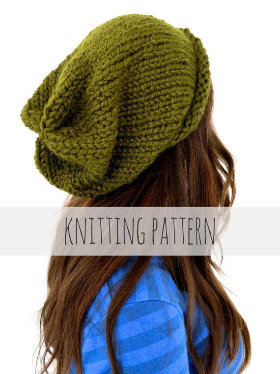 PATTERN for Chunky Soft Knit Slouchy Beanie Hat // Hipster Hat