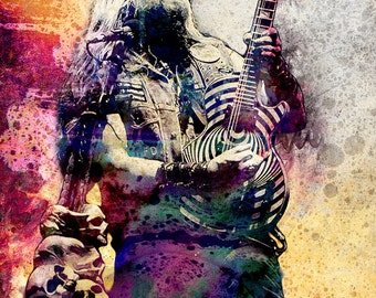 Zakk Wylde Art, Heavy Metal Original Painting Art Print, Ozzy Osbourne