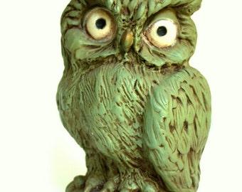 Piggy Bank, Owl Figurines, Owl Decorations, Owl Home Decor, Vintage Owls, Green Owl,  Kids Bedroom Decor, Piggy Bank for Kids