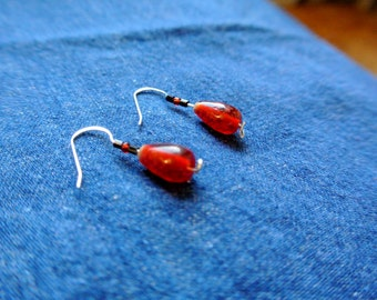 Red Glass Stone Earrings- Sterling Silver