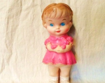 The Edward Mobley Co. 1958 Rubber Squeak Doll- Squeaky Toy- Doll in Pink Dress with Bows Hair- Well Marked- Still Squeaks!-Cute Vintage Doll