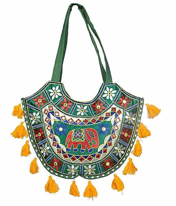 Indian Elephant, Sling Bag, Indian Bag, Bottle Green, Traditional Tote, Ethnic Hobo, Gift For her, Christmas Gift, Stocking STuffer