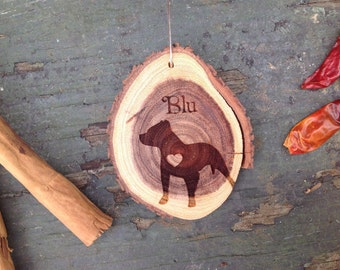 "Unique 2.8"" Locally Grown Wood Disc Ornament, Custom Made Pitbull with a Heart, Personalized, Engraved, Christmas Decoration, Handmade"