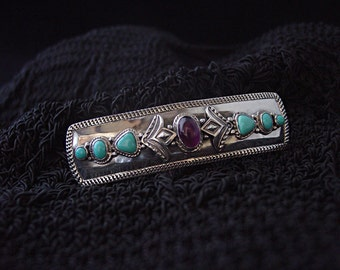 3.5 inch Amethyst and Sleeping Beauty Turquoise Barrette Handmade in Sterling Silver ... Made to Order