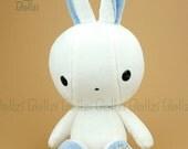 "Bellzi® Cute Rabbit Plush Stuffed Animal Toy White ""Blue"" Contrast Bunny Plushie - Bunni"