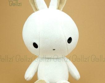 "Bellzi® Cute Rabbit Plush Stuffed Animal Toy White"" Brown"" Contrast Bunny Plushie -  Bunni"