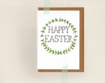 happy easter . greeting card . easter card . green white wreath woodland rustic . australia