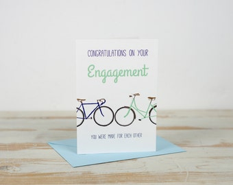Engagement - You were made for each other- Two Bicycles  Bike Cycling Cycle Card. Happy Engagement. You're Engaged.