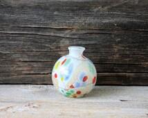 vintage art glass globe vase weed pot // gold leaf layered glass // studio glass