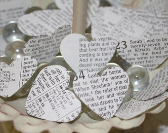 Bible Heart Confetti - Perfect for Flower Girl Toss & Wedding Departure, Wedding Confetti, Vintage Bible Pages, Wedding Toss, Wedding Exit