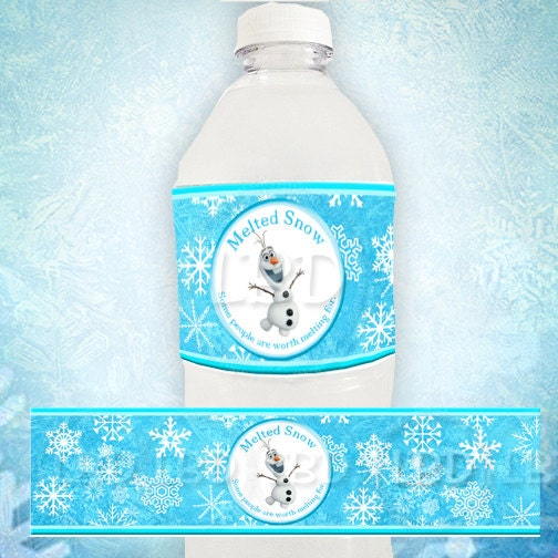 Frozen Water Bottle Labels Melted Snow Olaf Water Birthday