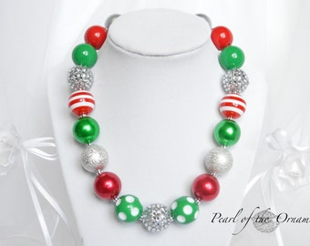 Christmas red green silver chunky statement bubblegum necklace baby toddler girl women flower girl adult holidays bridesmaid photo prop gift