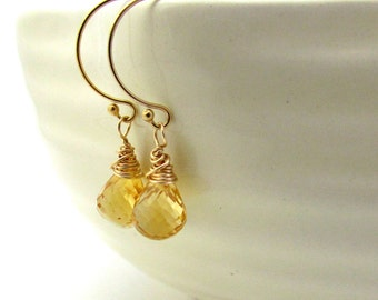 November birthstone earrings, gold citrine earrings, yellow gemstone jewelry, citrine birthstone , yellow drop earrings, citrine jewelry