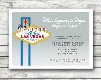 Las Vegas Bachelor Party Invitation - Bachelor Weekend Invite - Printable