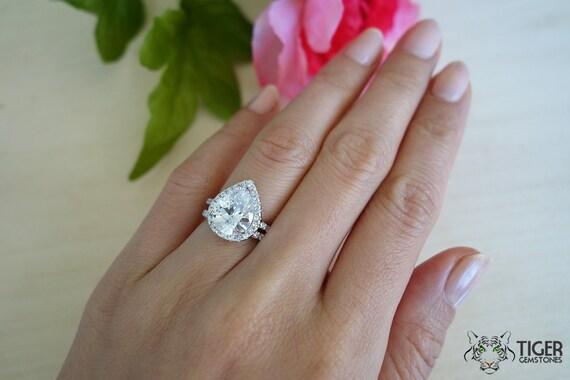 3 5 Carat Pear Cut Halo Engagement Ring & Wedding Band Flawless Man Made