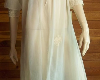 Vintage Lingerie 1950s DEENA Styled in California Ivory Chiffon Peignoir or Robe Medium