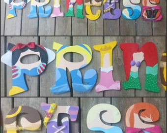 Hand Painted Letters- Princess Letters - Princess Wall Letters - Name Letters - Painted Letters - Wood Letters - Custom Wood Letters