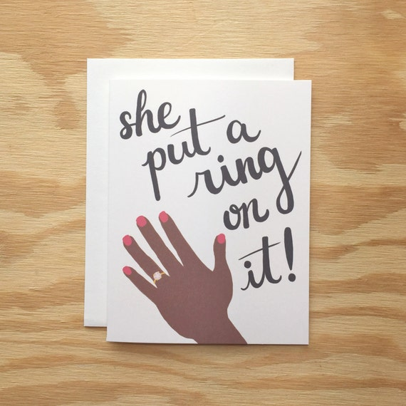 She Put A Ring On It! Gay Couple greeting card, engagement, wedding, couple, typography, LGBT, lesbian couple