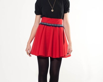 High waist pleated cirlce skirt, high waist black skirt