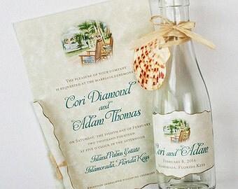 Destination Wedding Invitations -  Beach Invitations - Destination Wedding Invitations in a Bottle - Beach Tropical Gazebo