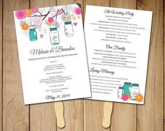 Wedding Fan Template - Fan Program Template DIY Wedding Program Wedding Program Fan DIY Ceremony Program Printable Program Mason Jar Program